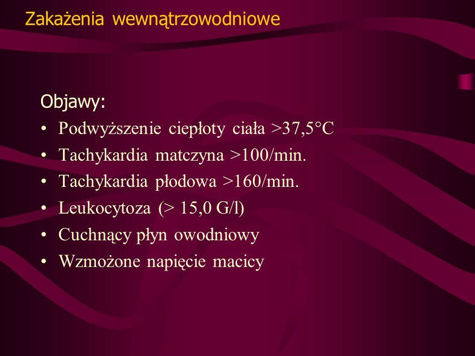 Zakażenia wewnątrzowodniowe Objawy: Podwyższenie ciepłoty ciała >37,5°C Tachykardia matczyna >100/min.