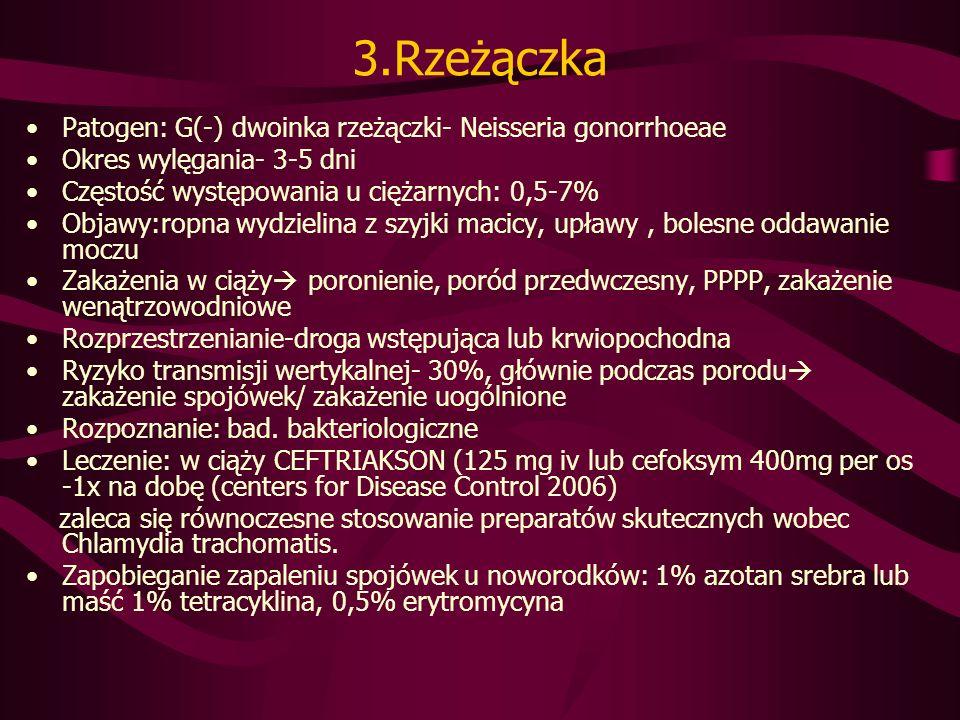 3.Rzeżączka Patogen: G(-) dwoinka rzeżączki- Neisseria gonorrhoeae Okres wylęgania- 3-5 dni Częstość występowania u ciężarnych: 0,5-7% Objawy:ropna wydzielina z szyjki macicy, upławy, bolesne oddawanie moczu Zakażenia w ciąży poronienie, poród przedwczesny, PPPP, zakażenie wenątrzowodniowe Rozprzestrzenianie-droga wstępująca lub krwiopochodna Ryzyko transmisji wertykalnej- 30%, głównie podczas porodu zakażenie spojówek/ zakażenie uogólnione Rozpoznanie: bad.
