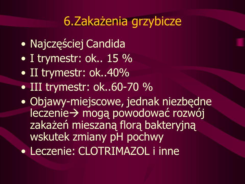 6.Zakażenia grzybicze Najczęściej Candida I trymestr: ok..