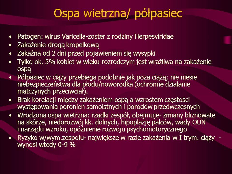 Ospa wietrzna/ półpasiec Patogen: wirus Varicella-zoster z rodziny Herpesviridae Zakażenie-drogą kropelkową Zakaźna od 2 dni przed pojawieniem się wysypki Tylko ok.