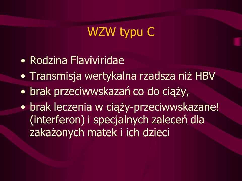 WZW typu C Rodzina Flaviviridae Transmisja wertykalna rzadsza niż HBV brak przeciwwskazań co do ciąży, brak leczenia w ciąży-przeciwwskazane.