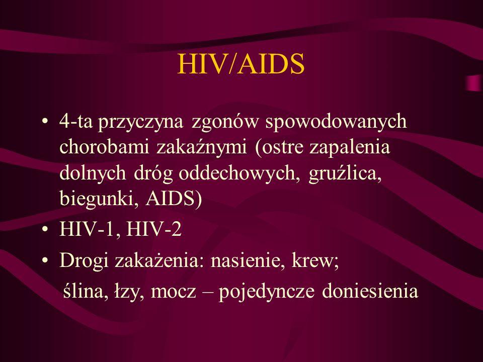 HIV/AIDS 4-ta przyczyna zgonów spowodowanych chorobami zakaźnymi (ostre zapalenia dolnych dróg oddechowych, gruźlica, biegunki, AIDS) HIV-1, HIV-2 Drogi zakażenia: nasienie, krew; ślina, łzy, mocz – pojedyncze doniesienia