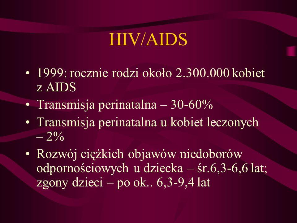HIV/AIDS 1999: rocznie rodzi około 2.300.000 kobiet z AIDS Transmisja perinatalna – 30-60% Transmisja perinatalna u kobiet leczonych – 2% Rozwój ciężkich objawów niedoborów odpornościowych u dziecka – śr.6,3-6,6 lat; zgony dzieci – po ok..