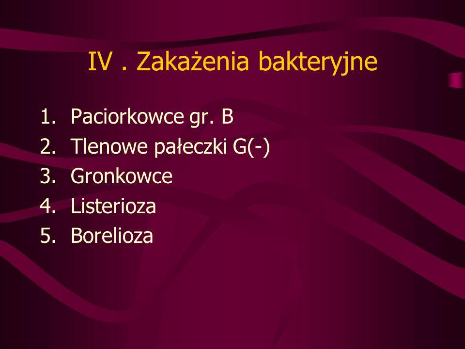IV.Zakażenia bakteryjne 1.Paciorkowce gr.
