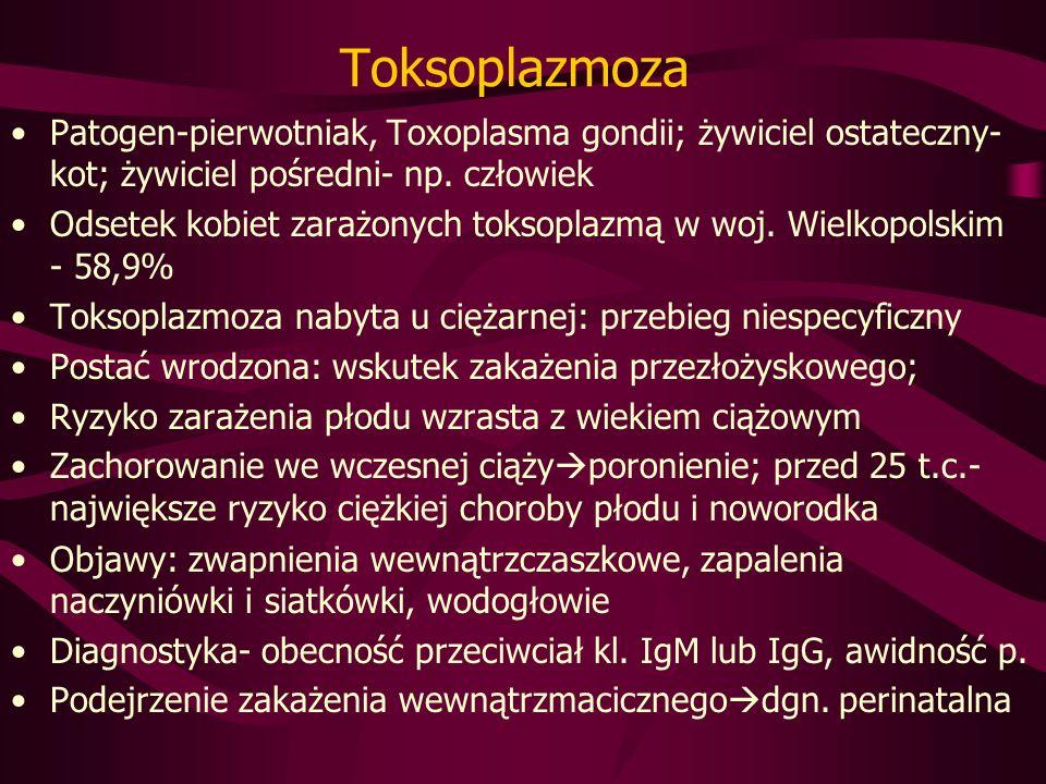 Toksoplazmoza Patogen-pierwotniak, Toxoplasma gondii; żywiciel ostateczny- kot; żywiciel pośredni- np.