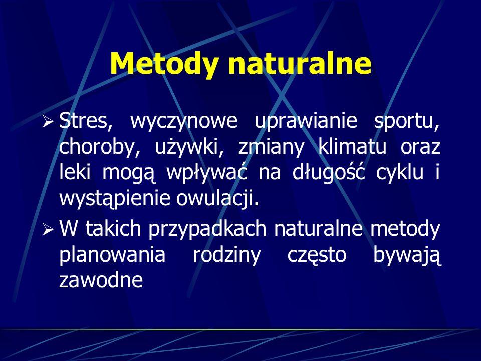 Metody naturalne Stres, wyczynowe uprawianie sportu, choroby, używki, zmiany klimatu oraz leki mogą wpływać na długość cyklu i wystąpienie owulacji. W