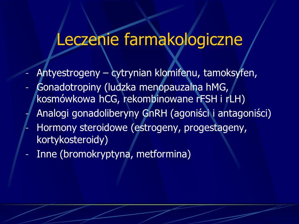 Leczenie farmakologiczne - Antyestrogeny – cytrynian klomifenu, tamoksyfen, - Gonadotropiny (ludzka menopauzalna hMG, kosmówkowa hCG, rekombinowane rF