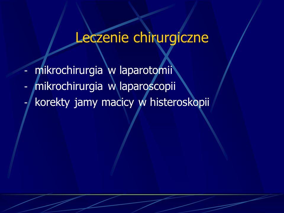 Leczenie chirurgiczne - mikrochirurgia w laparotomii - mikrochirurgia w laparoscopii - korekty jamy macicy w histeroskopii