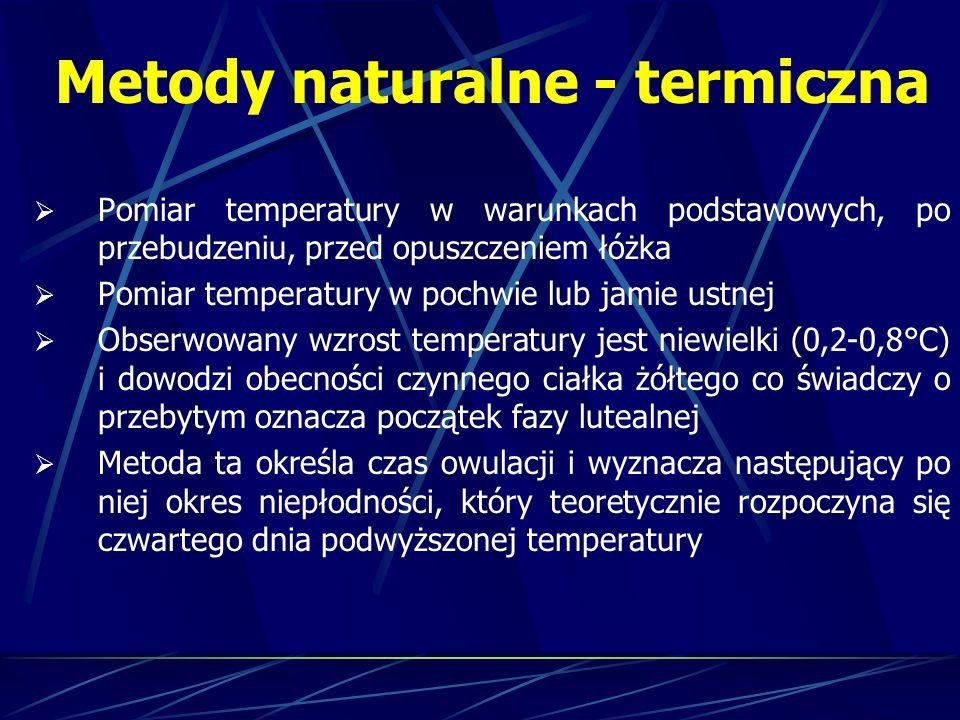 Metody naturalne - termiczna Zalety: Całkowita obojętność dla zdrowia Wady: Konieczność powstrzymywania się od stosunków płciowych Wymaga dyscypliny, dokładności, systematyczności Możliwe błędy przy interpretacji otrzymywanych wyników Duża możliwość błędów przy stanach zapalnych