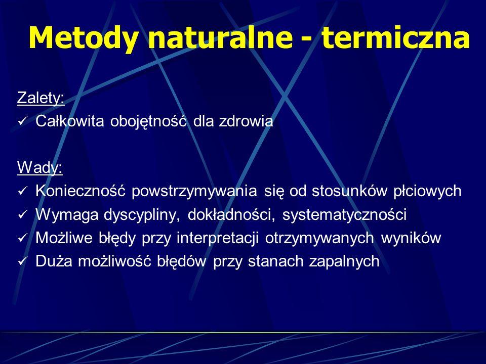Metody naturalne - termiczna Zalety: Całkowita obojętność dla zdrowia Wady: Konieczność powstrzymywania się od stosunków płciowych Wymaga dyscypliny,