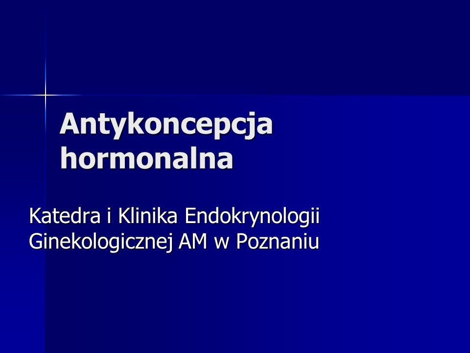 Antykoncepcja hormonalna Katedra i Klinika Endokrynologii Ginekologicznej AM w Poznaniu
