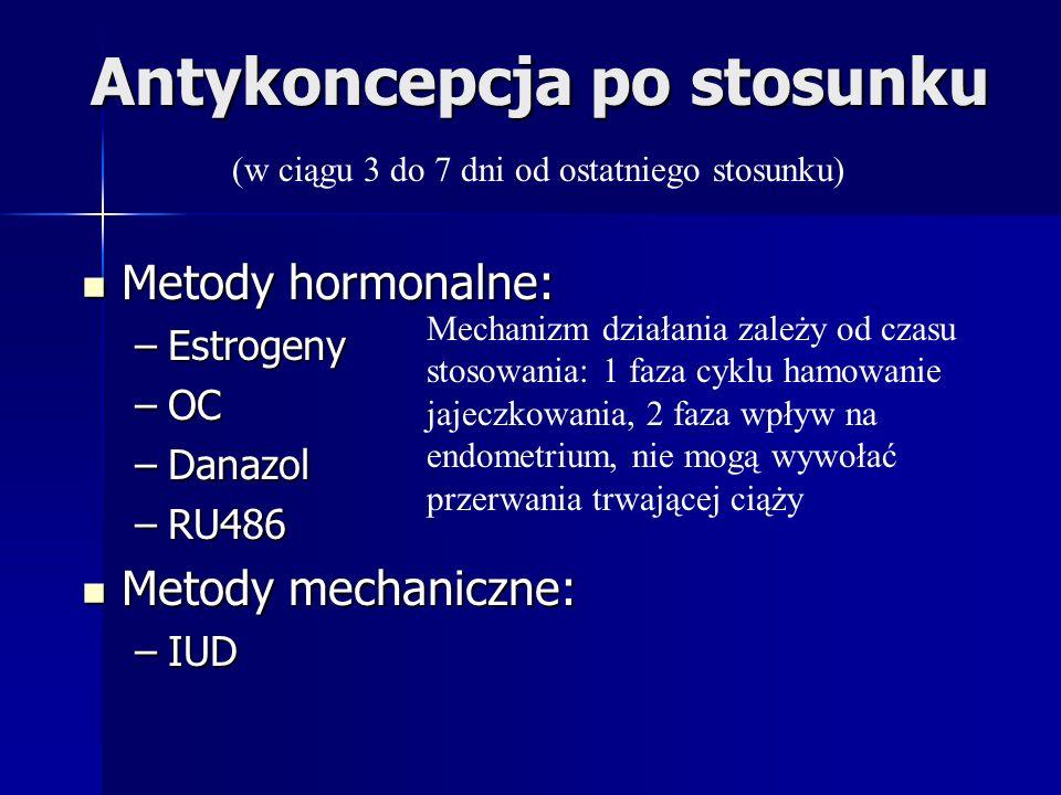 Antykoncepcja po stosunku Metody hormonalne: Metody hormonalne: –Estrogeny –OC –Danazol –RU486 Metody mechaniczne: Metody mechaniczne: –IUD (w ciągu 3