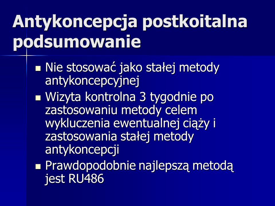 Antykoncepcja postkoitalna podsumowanie Nie stosować jako stałej metody antykoncepcyjnej Nie stosować jako stałej metody antykoncepcyjnej Wizyta kontr