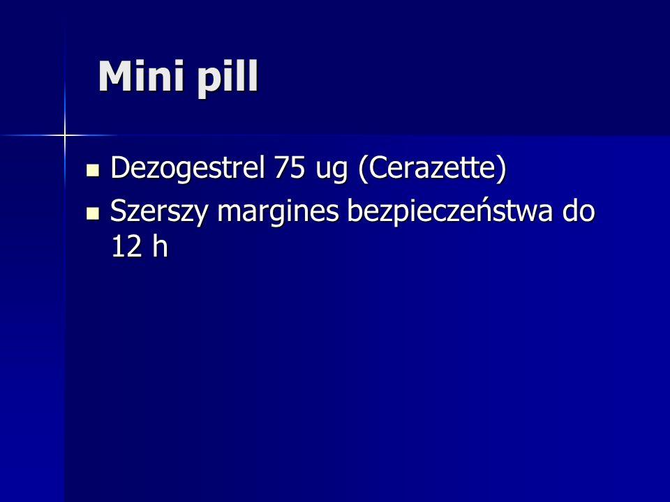Mini pill Mini pill Dezogestrel 75 ug (Cerazette) Dezogestrel 75 ug (Cerazette) Szerszy margines bezpieczeństwa do 12 h Szerszy margines bezpieczeństw