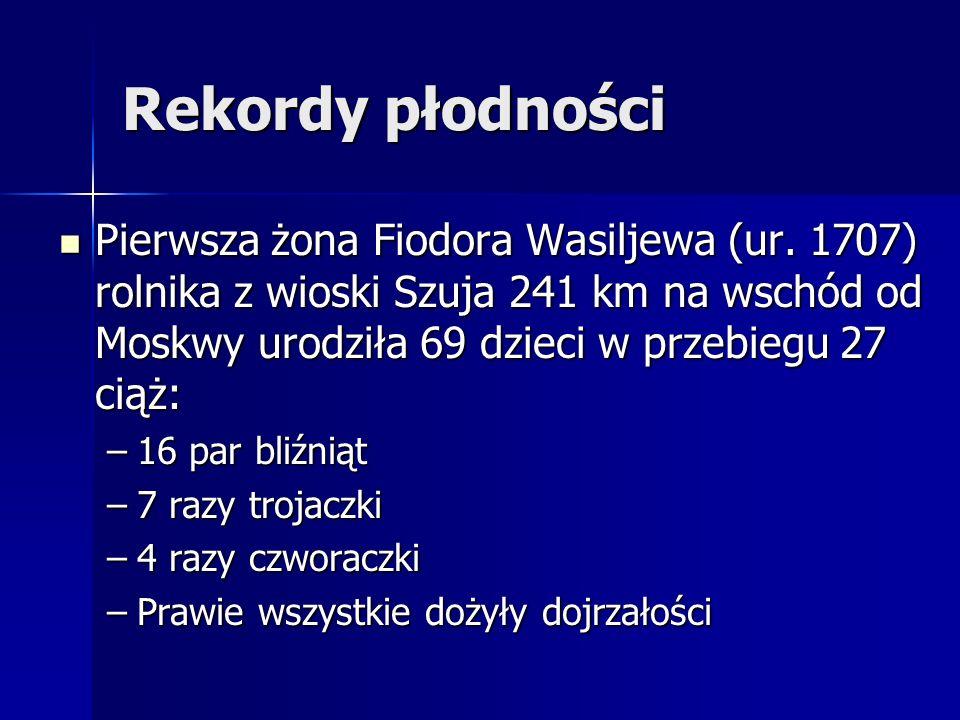 Rekordy płodności Pierwsza żona Fiodora Wasiljewa (ur. 1707) rolnika z wioski Szuja 241 km na wschód od Moskwy urodziła 69 dzieci w przebiegu 27 ciąż: