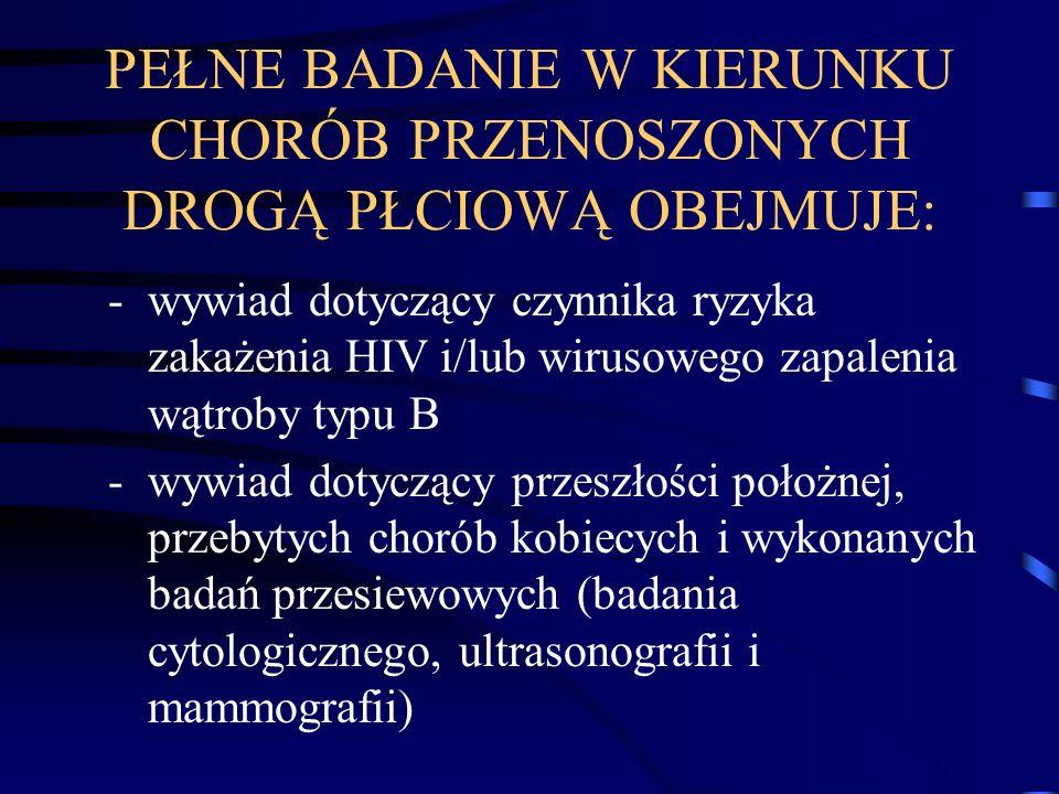 PEŁNE BADANIE W KIERUNKU CHORÓB PRZENOSZONYCH DROGĄ PŁCIOWĄ OBEJMUJE: -wywiad dotyczący czynnika ryzyka zakażenia HIV i/lub wirusowego zapalenia wątro