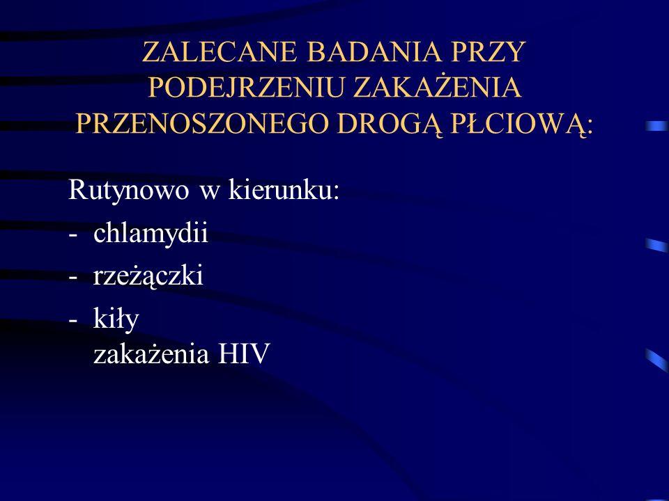 ZALECANE BADANIA PRZY PODEJRZENIU ZAKAŻENIA PRZENOSZONEGO DROGĄ PŁCIOWĄ: Rutynowo w kierunku: -chlamydii -rzeżączki -kiły zakażenia HIV