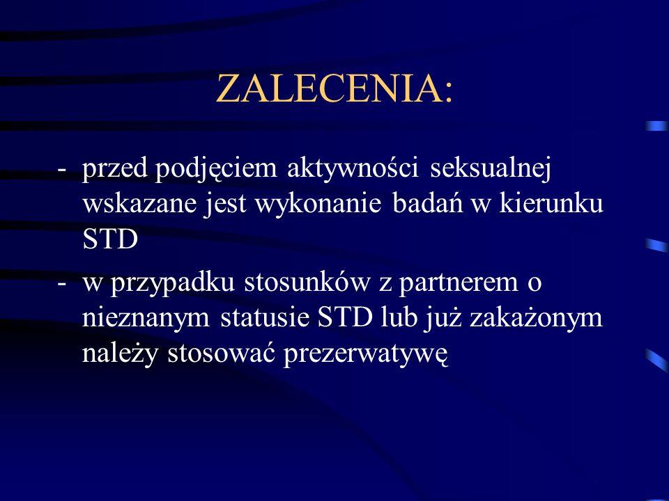 ZALECENIA: -przed podjęciem aktywności seksualnej wskazane jest wykonanie badań w kierunku STD -w przypadku stosunków z partnerem o nieznanym statusie STD lub już zakażonym należy stosować prezerwatywę