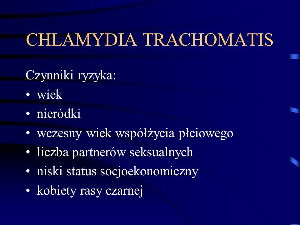 CHLAMYDIA TRACHOMATIS Czynniki ryzyka: wiek nieródki wczesny wiek współżycia płciowego liczba partnerów seksualnych niski status socjoekonomiczny kobi