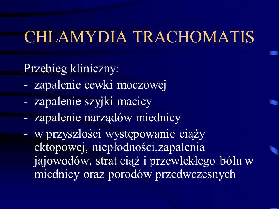 CHLAMYDIA TRACHOMATIS Przebieg kliniczny: -zapalenie cewki moczowej -zapalenie szyjki macicy -zapalenie narządów miednicy -w przyszłości występowanie ciąży ektopowej, niepłodności,zapalenia jajowodów, strat ciąż i przewlekłego bólu w miednicy oraz porodów przedwczesnych