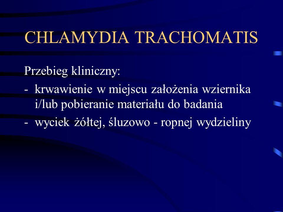 CHLAMYDIA TRACHOMATIS Przebieg kliniczny: -krwawienie w miejscu założenia wziernika i/lub pobieranie materiału do badania -wyciek żółtej, śluzowo - ropnej wydzieliny