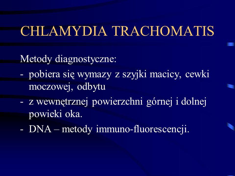 CHLAMYDIA TRACHOMATIS Metody diagnostyczne: -pobiera się wymazy z szyjki macicy, cewki moczowej, odbytu -z wewnętrznej powierzchni górnej i dolnej powieki oka.
