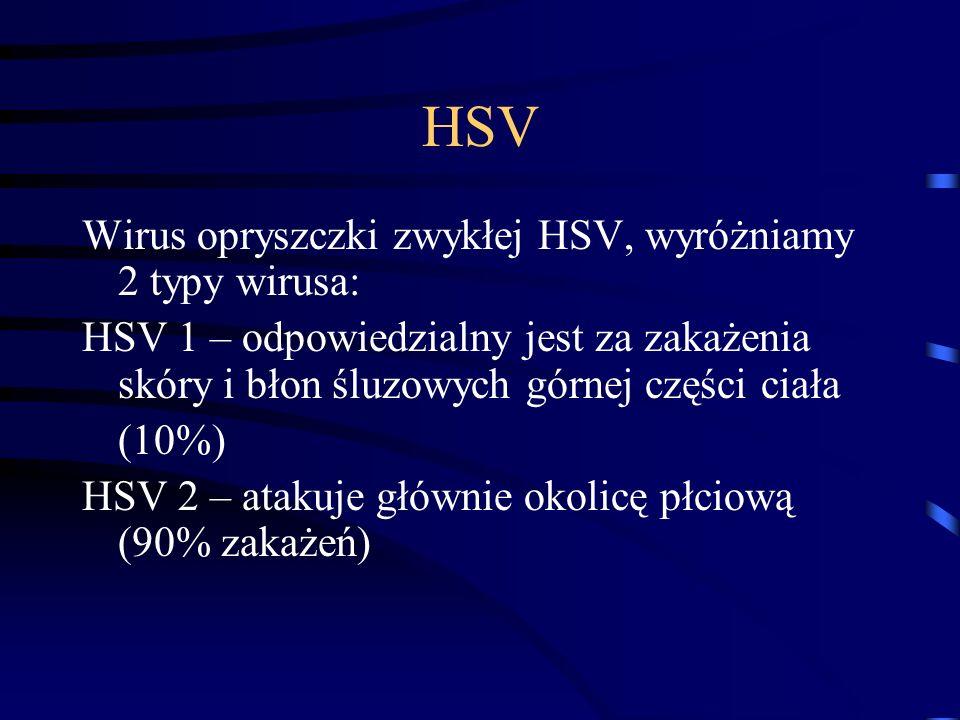 HSV Wirus opryszczki zwykłej HSV, wyróżniamy 2 typy wirusa: HSV 1 – odpowiedzialny jest za zakażenia skóry i błon śluzowych górnej części ciała (10%) HSV 2 – atakuje głównie okolicę płciową (90% zakażeń)