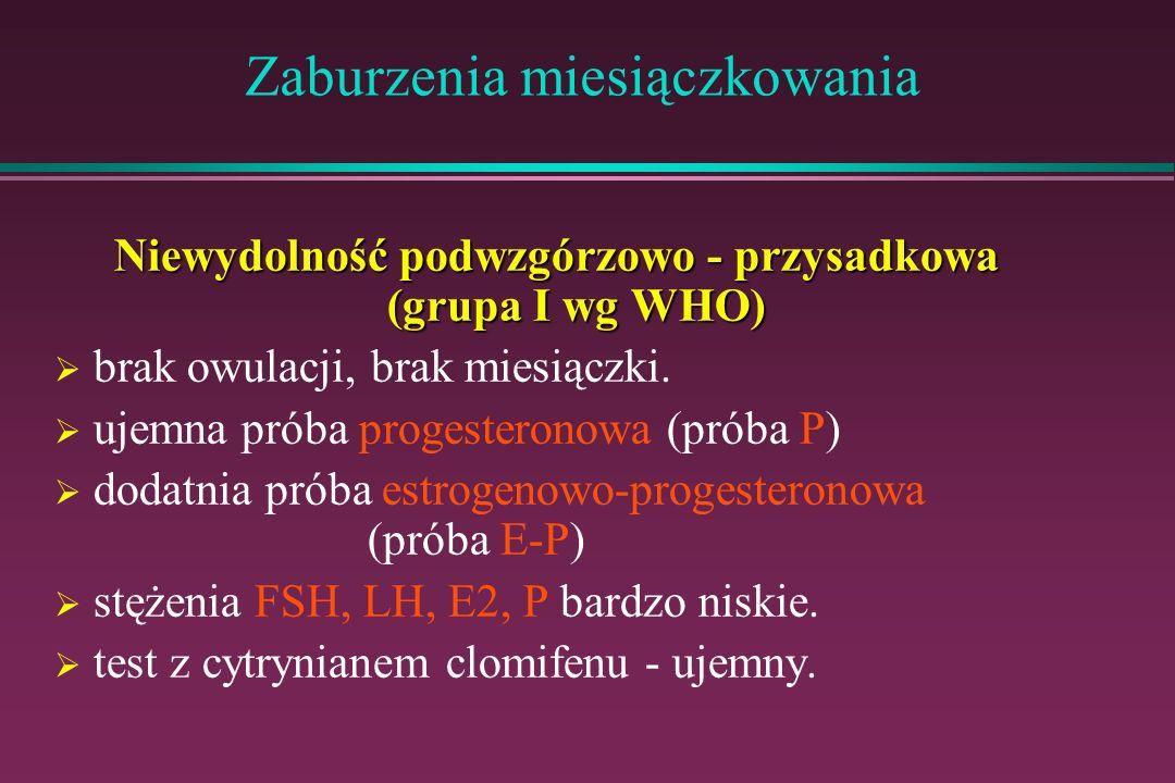 Zaburzenia miesiączkowania Niewydolność podwzgórzowo - przysadkowa (grupa I wg WHO) brak owulacji, brak miesiączki. ujemna próba progesteronowa (próba