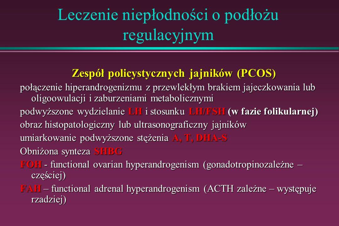 Leczenie niepłodności o podłożu regulacyjnym Zespół policystycznych jajników (PCOS) połączenie hiperandrogenizmu z przewlekłym brakiem jajeczkowania l