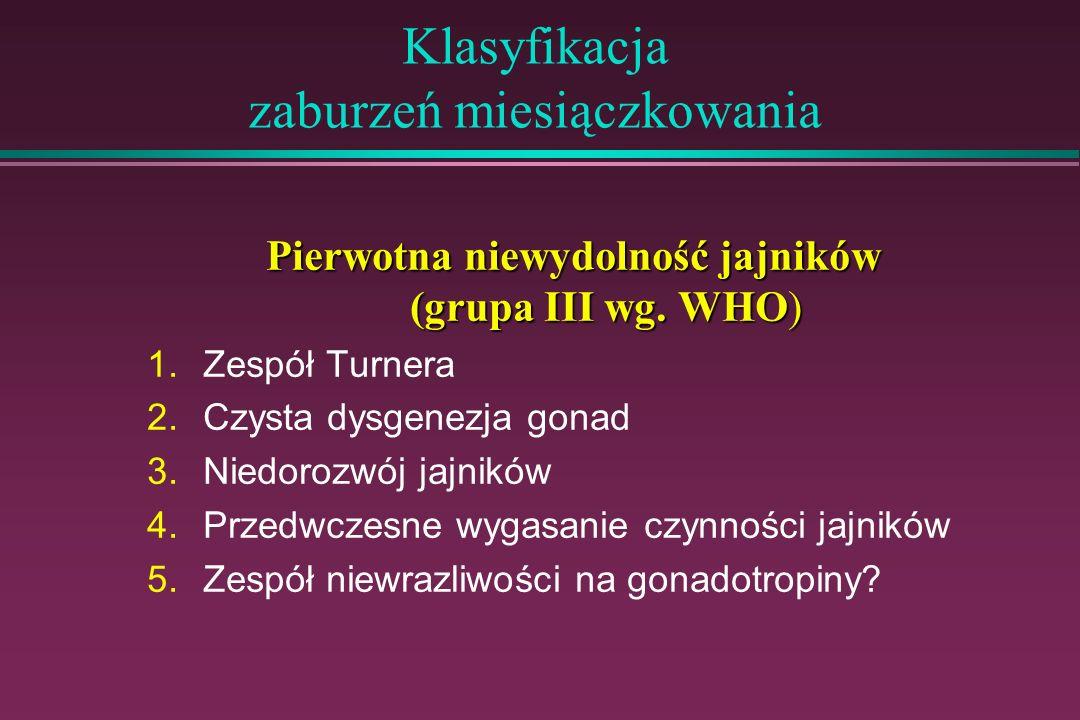 Klasyfikacja zaburzeń miesiączkowania Pierwotna niewydolność jajników (grupa III wg. WHO) 1.Zespół Turnera 2.Czysta dysgenezja gonad 3.Niedorozwój jaj