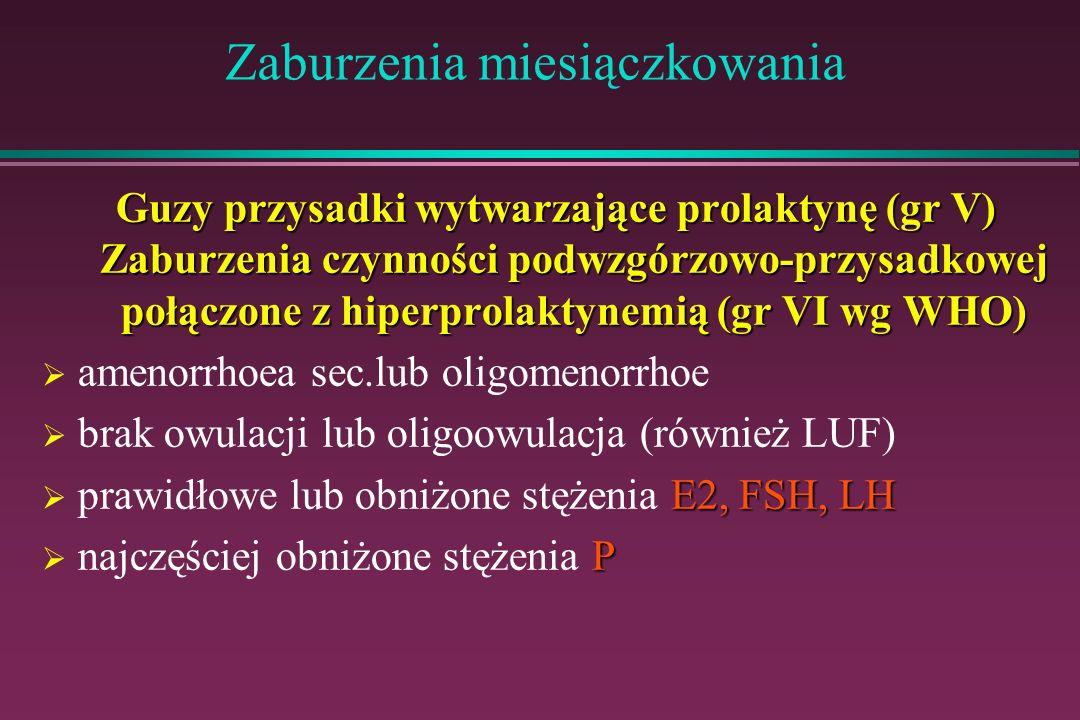 Zaburzenia miesiączkowania Guzy przysadki wytwarzające prolaktynę (gr V) Zaburzenia czynności podwzgórzowo-przysadkowej połączone z hiperprolaktynemią