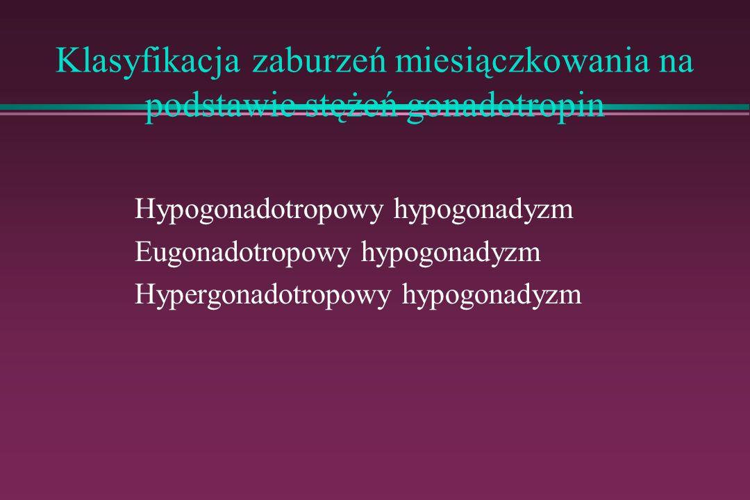 Klasyfikacja zaburzeń miesiączkowania na podstawie stężeń gonadotropin Hypogonadotropowy hypogonadyzm Eugonadotropowy hypogonadyzm Hypergonadotropowy