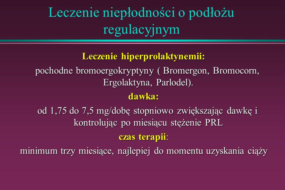 Leczenie niepłodności o podłożu regulacyjnym Leczenie hiperprolaktynemii: pochodne bromoergokryptyny ( Bromergon, Bromocorn, Ergolaktyna, Parlodel). p