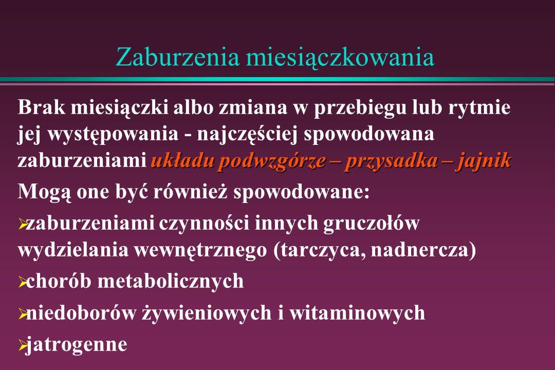 Zaburzenia miesiączkowania Terminologia zaburzeń miesiączkowania: Eumenorrhoea Eumenorrhoea – prawidłowe miesiączkowanie – cykliczne, regularne krwawienie z macicy o prawidłowym nasileniu i czasie trwania 24-32 dni występujące co 24-32 dni 3-5 dni trwające 3-5 dni 20-40 ml związane z utratą 20-40 ml krwi