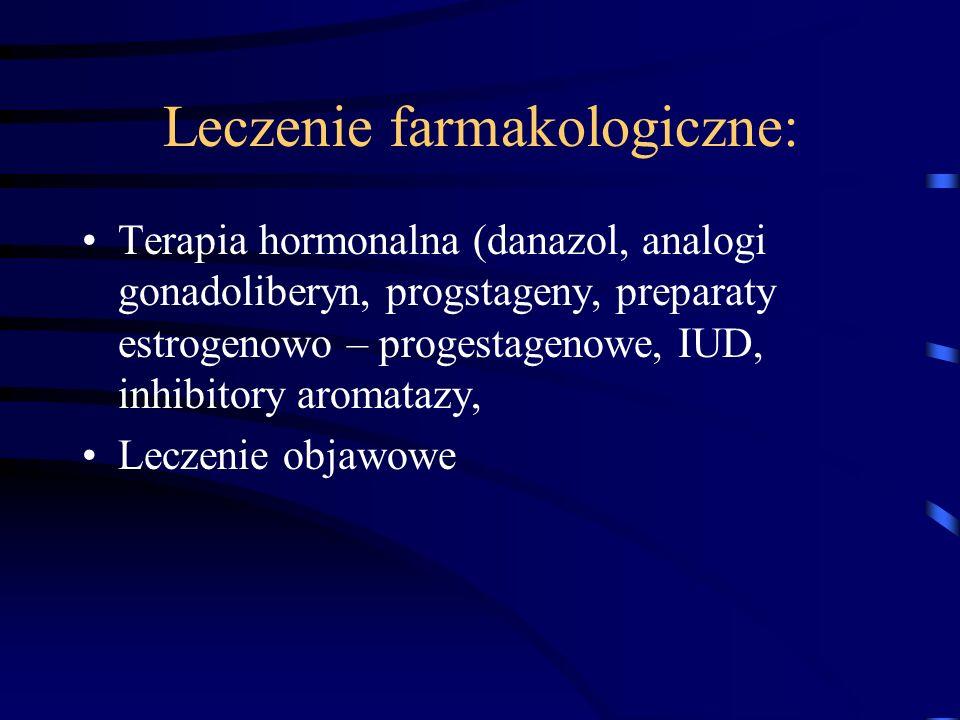 Leczenie farmakologiczne: Terapia hormonalna (danazol, analogi gonadoliberyn, progstageny, preparaty estrogenowo – progestagenowe, IUD, inhibitory aro