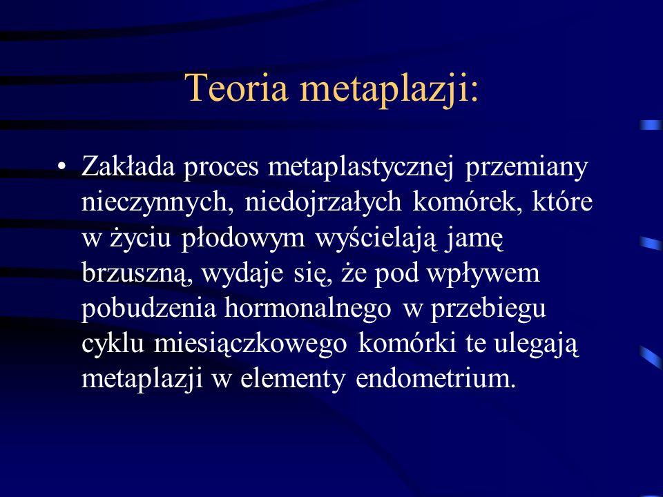 Teoria metaplazji: Zakłada proces metaplastycznej przemiany nieczynnych, niedojrzałych komórek, które w życiu płodowym wyścielają jamę brzuszną, wydaj