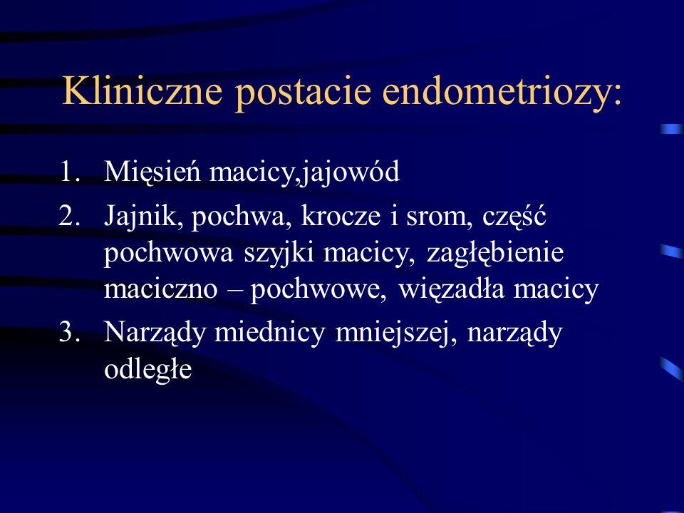 Kliniczne postacie endometriozy: 1.Mięsień macicy,jajowód 2.Jajnik, pochwa, krocze i srom, część pochwowa szyjki macicy, zagłębienie maciczno – pochwo
