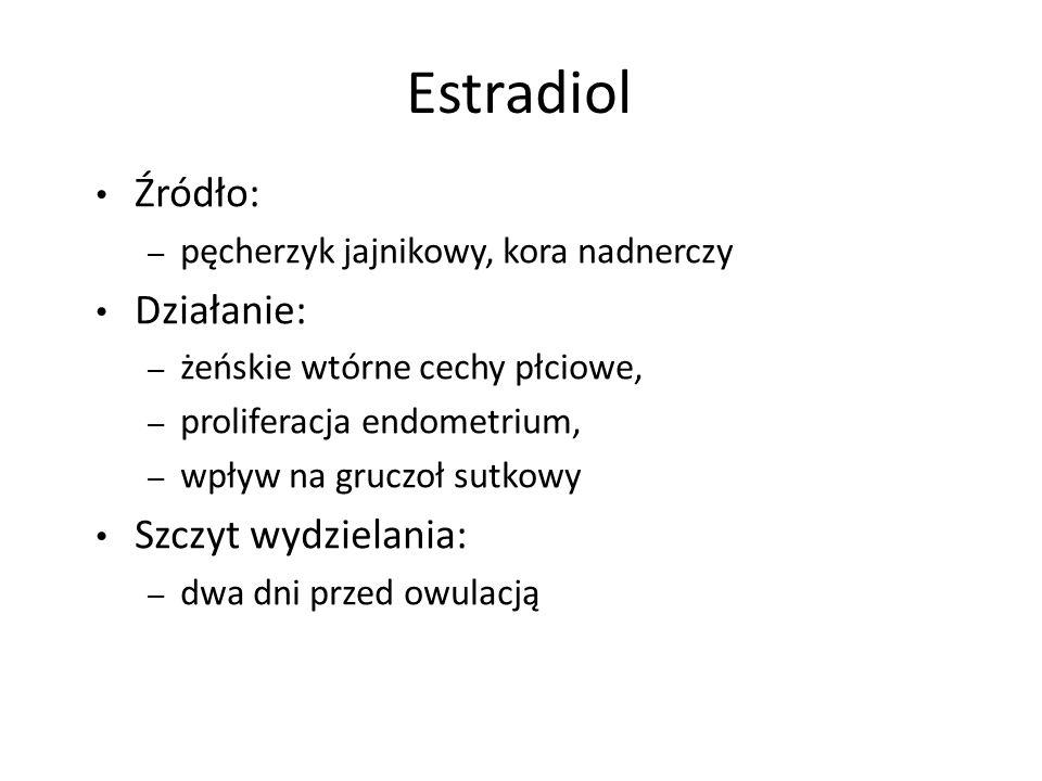 Estradiol Źródło: – pęcherzyk jajnikowy, kora nadnerczy Działanie: – żeńskie wtórne cechy płciowe, – proliferacja endometrium, – wpływ na gruczoł sutkowy Szczyt wydzielania: – dwa dni przed owulacją