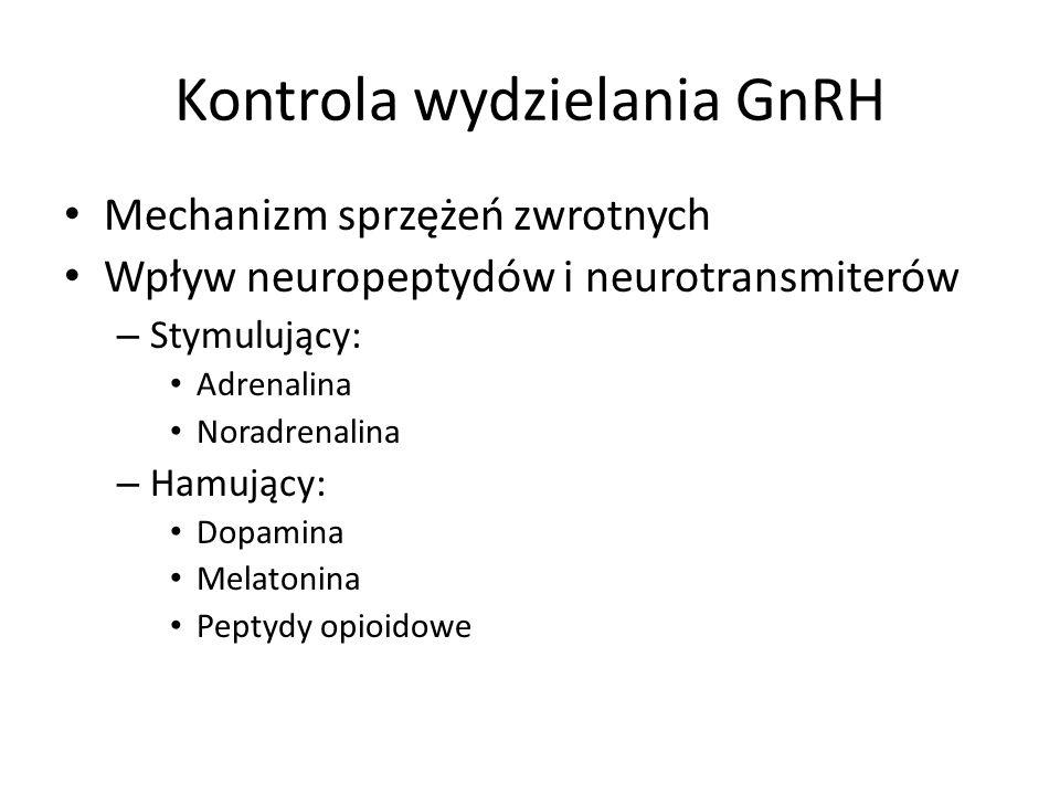 Kontrola wydzielania GnRH Mechanizm sprzężeń zwrotnych Wpływ neuropeptydów i neurotransmiterów – Stymulujący: Adrenalina Noradrenalina – Hamujący: Dopamina Melatonina Peptydy opioidowe