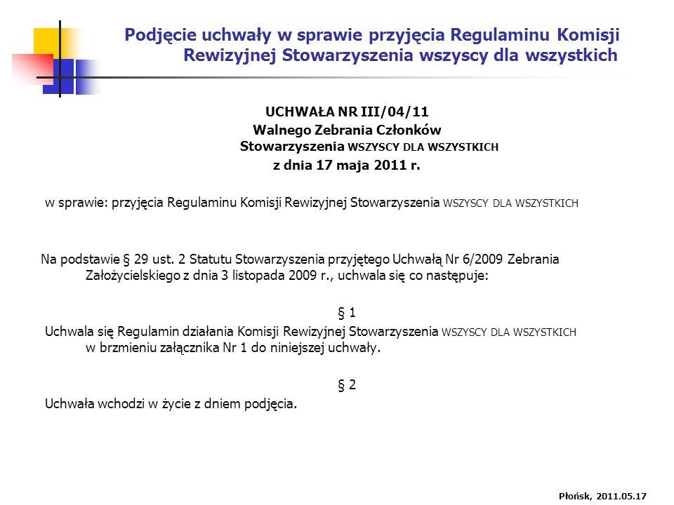 Podjęcie uchwały w sprawie przyjęcia Regulaminu Komisji Rewizyjnej Stowarzyszenia wszyscy dla wszystkich UCHWAŁA NR III/04/11 Walnego Zebrania Członków Stowarzyszenia WSZYSCY DLA WSZYSTKICH z dnia 17 maja 2011 r.