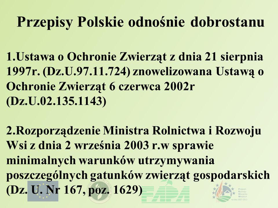 Przepisy Polskie odnośnie dobrostanu 1.Ustawa o Ochronie Zwierząt z dnia 21 sierpnia 1997r. (Dz.U.97.11.724) znowelizowana Ustawą o Ochronie Zwierząt