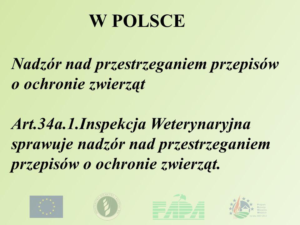 W POLSCE Nadzór nad przestrzeganiem przepisów o ochronie zwierząt Art.34a.1.Inspekcja Weterynaryjna sprawuje nadzór nad przestrzeganiem przepisów o oc