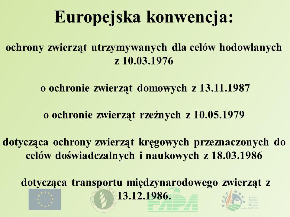 Europejska konwencja: ochrony zwierząt utrzymywanych dla celów hodowlanych z 10.03.1976 o ochronie zwierząt domowych z 13.11.1987 o ochronie zwierząt