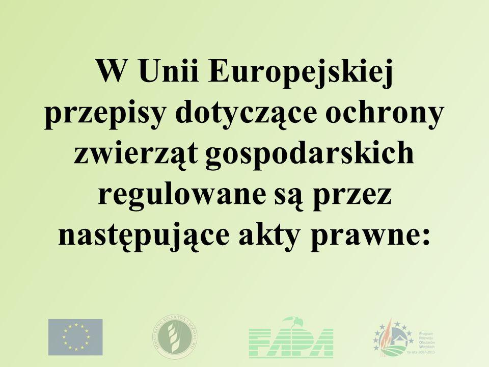 ZWIERZĘTA GOSPODARSKIE Dyrektywy Rady: 98/58/EC z 20 lipca 1998 dotycząca ochrony zwierząt gospodarskich.