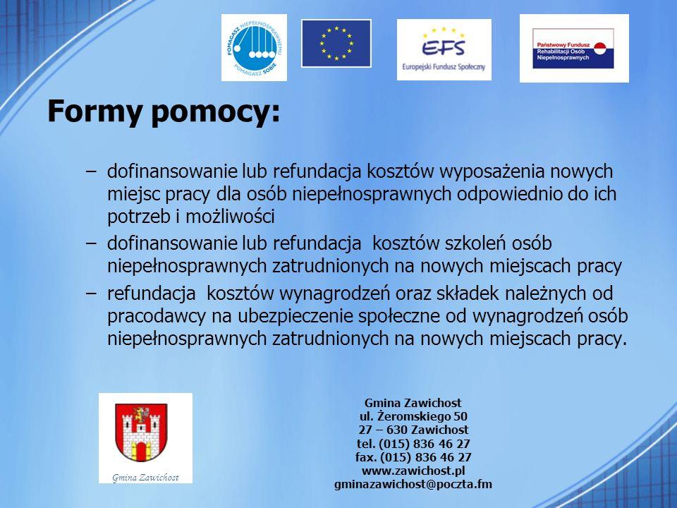 Formy pomocy: –dofinansowanie lub refundacja kosztów wyposażenia nowych miejsc pracy dla osób niepełnosprawnych odpowiednio do ich potrzeb i możliwośc