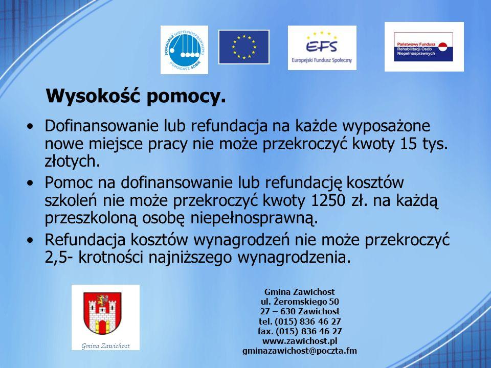 Wysokość pomocy. Dofinansowanie lub refundacja na każde wyposażone nowe miejsce pracy nie może przekroczyć kwoty 15 tys. złotych. Pomoc na dofinansowa