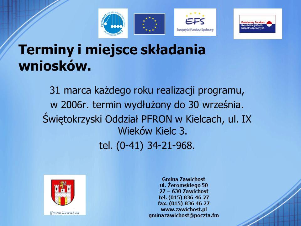 Terminy i miejsce składania wniosków. 31 marca każdego roku realizacji programu, w 2006r. termin wydłużony do 30 września. Świętokrzyski Oddział PFRON
