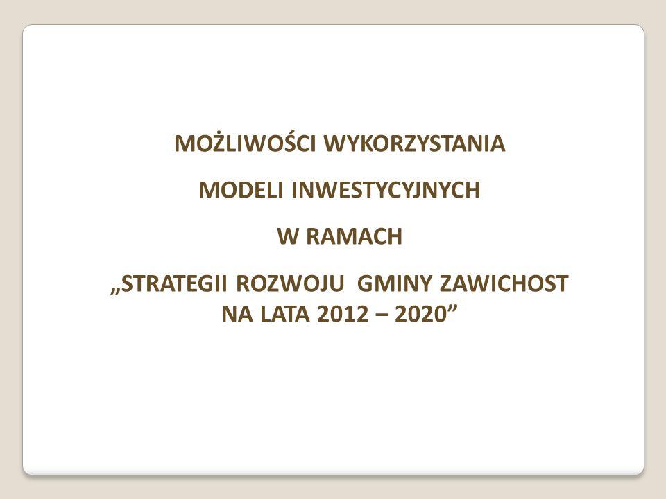 MOŻLIWOŚCI WYKORZYSTANIA MODELI INWESTYCYJNYCH W RAMACH STRATEGII ROZWOJU GMINY ZAWICHOST NA LATA 2012 – 2020