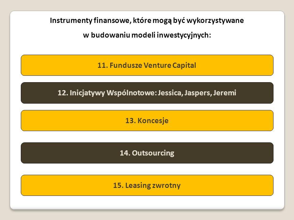Instrumenty finansowe, które mogą być wykorzystywane w budowaniu modeli inwestycyjnych: 11. Fundusze Venture Capital 12. Inicjatywy Wspólnotowe: Jessi