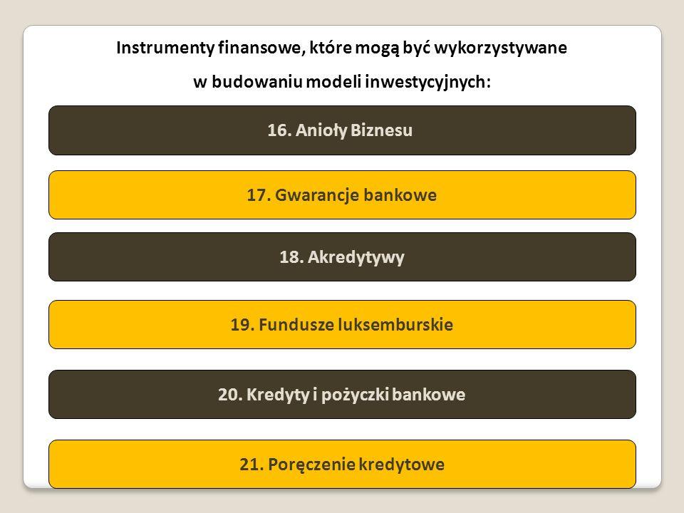 Instrumenty finansowe, które mogą być wykorzystywane w budowaniu modeli inwestycyjnych: 16. Anioły Biznesu 17. Gwarancje bankowe 18. Akredytywy 19. Fu
